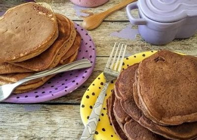 Dairy Free Chocolate Protein Pancakes ~ made 2 ways